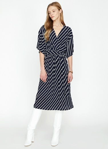 Koton Çizgili Midi Anvelop elbise Lacivert